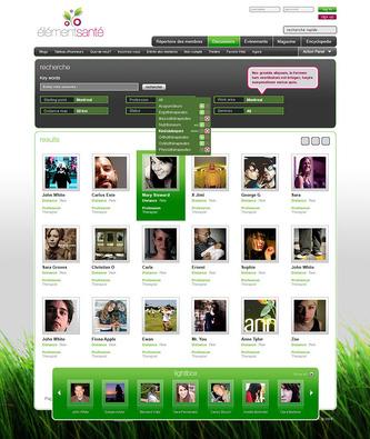 Profiles search result page